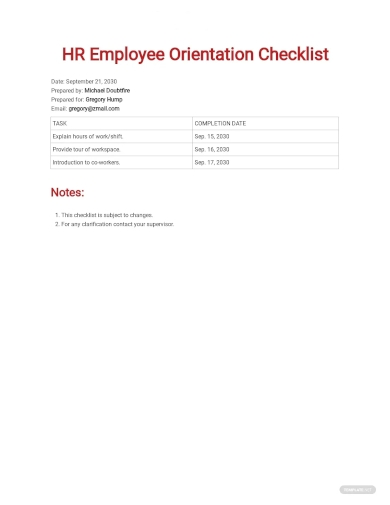 hr employee orientation checklist sample