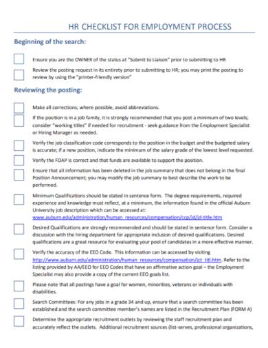 hr employment process assessment checklist