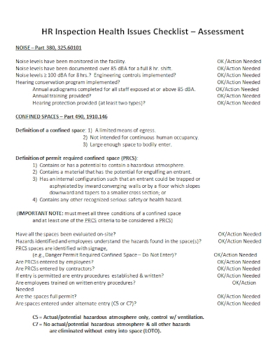 hr inspection health assessment checklist