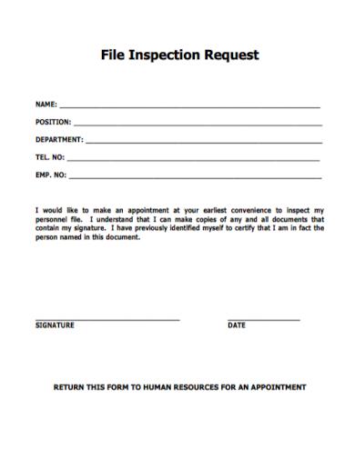 hr personnel file inspection request
