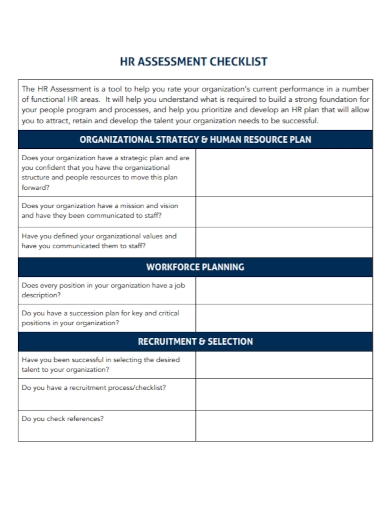 hr plan assessment checklist