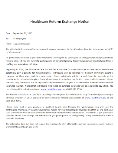 health care reform insurance exchange notice