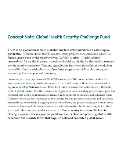 health secureity concept note