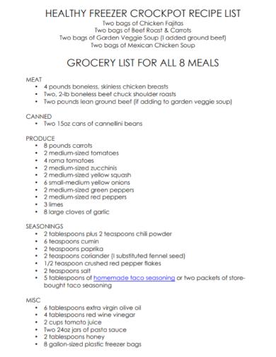 healthy recipe grocery list