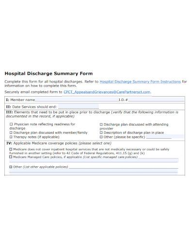 hospital discharge summary form