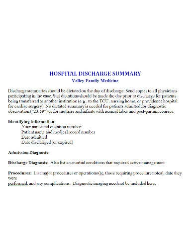 hospital discharge summary format