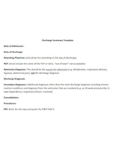 hospital discharge summary sample
