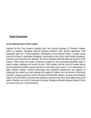 hotel capital fact sheet