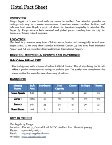 hotel meeting fact sheet samples