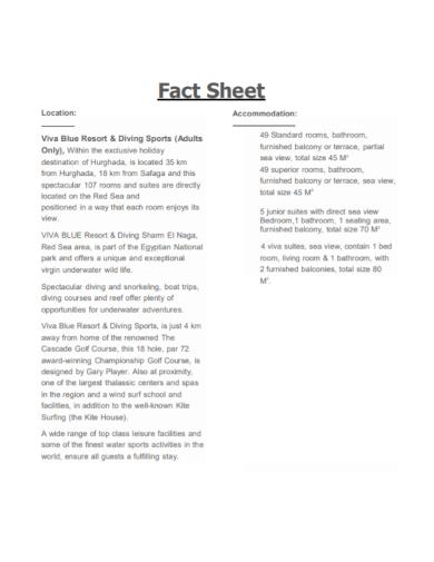 hotel resorts fact sheet