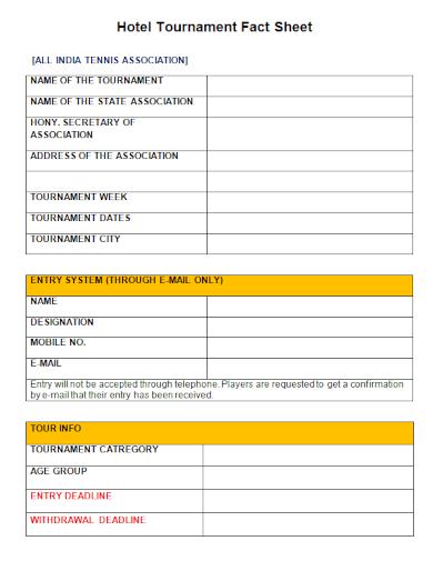 hotel tournament fact sheet