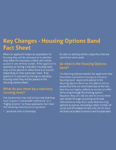 housing options band fact sheet