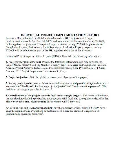 individual project implementation report