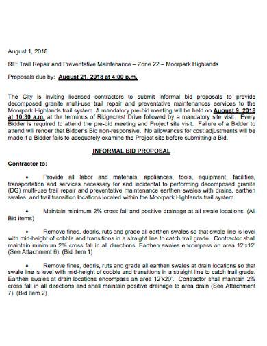 informal bid proposal letter
