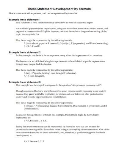 informative development formula thesis statement