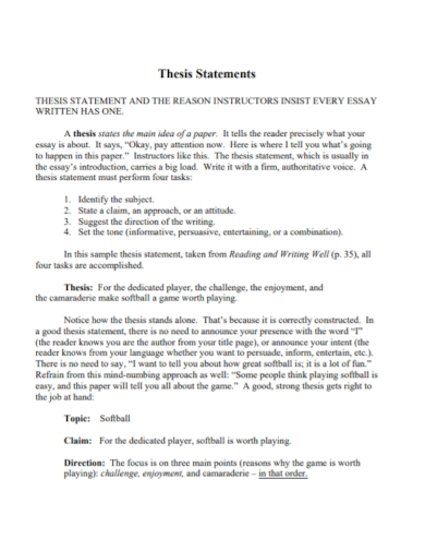 informative essay thesis statement