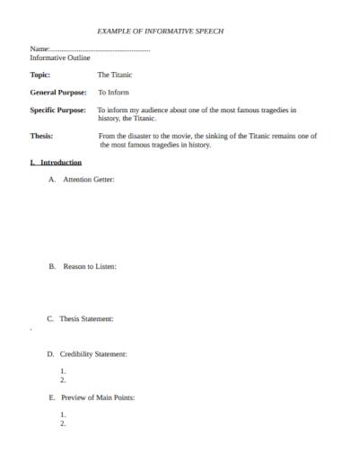 informative speech topic thesis statement