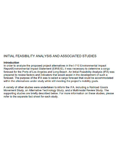 initial feasibility analysis