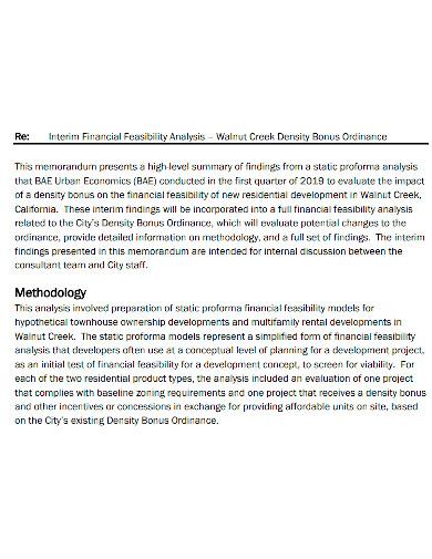 interim financial feasibility analysis