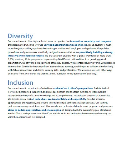 international diversity and inclusion statement