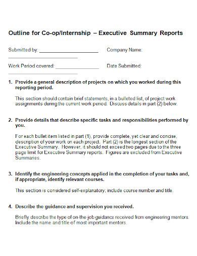 internships executive summary report