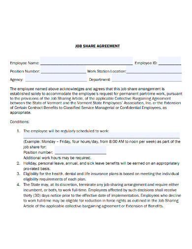 job sharing agreement form sample
