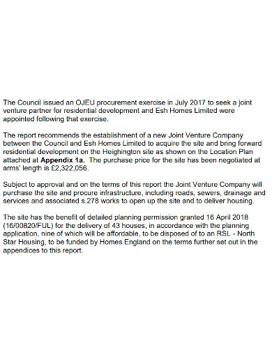 joint venture proposa summary report