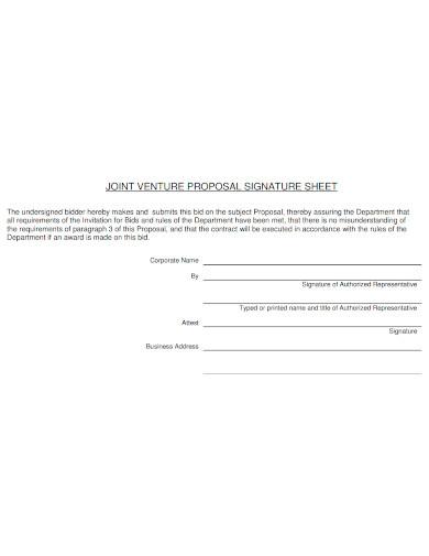 joint venture proposal sheet