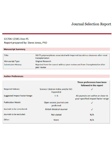journal selection report
