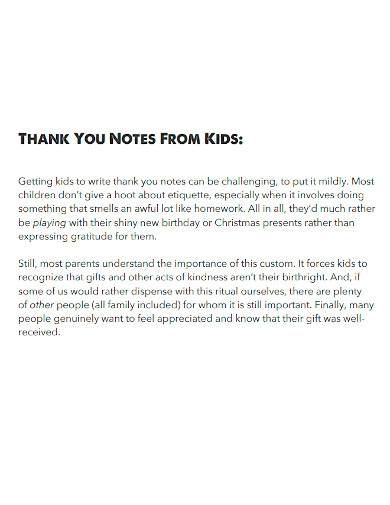 kids thank you note
