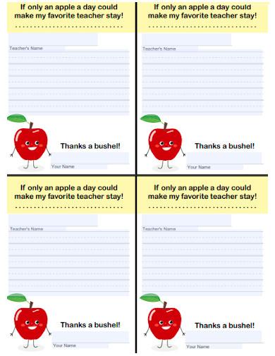 kids thank you teacher note