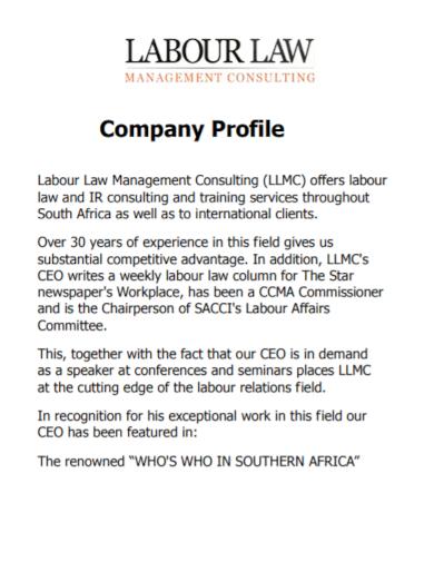 labor law consulting company profile