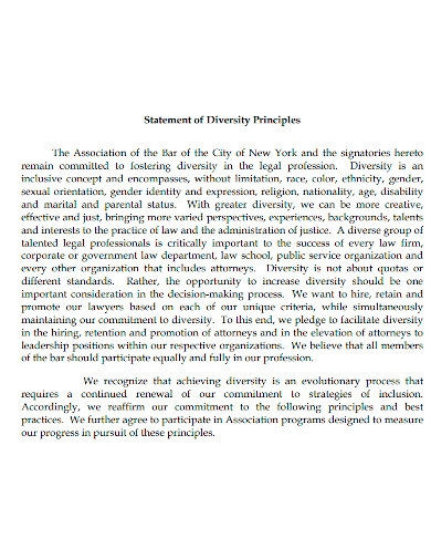 law school diversity principals statement sample