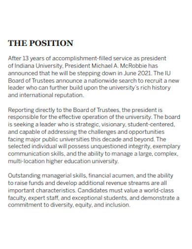 leadership position statement sample