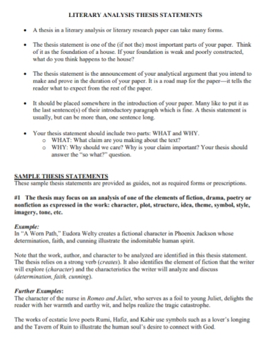 literary analysis thesis statement