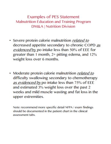 malnutrition pes statement