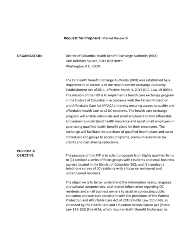 market research health request for proposal