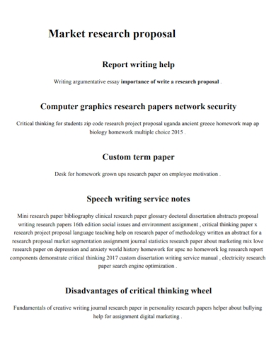 market research report proposal
