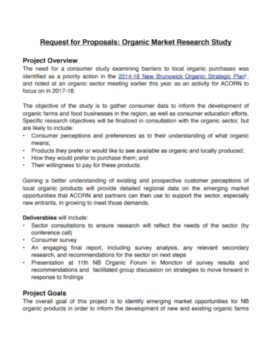 market research study request for proposal