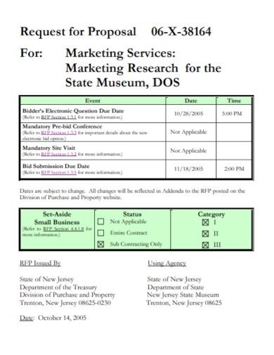 marketing research services request for proposal