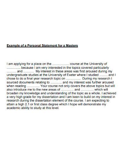 masters university personal statement
