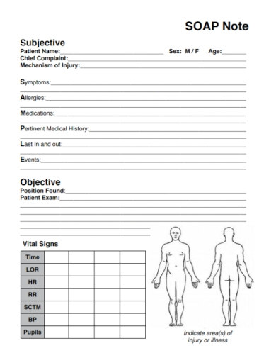 medical care blank soap note
