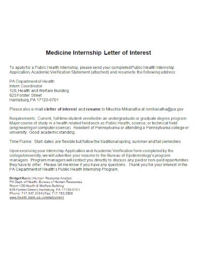 medicine internship letter of interest