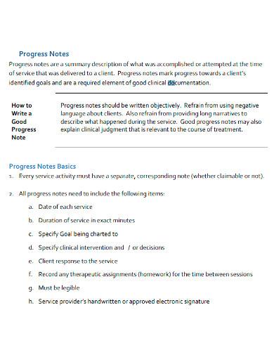 mental health client progress note