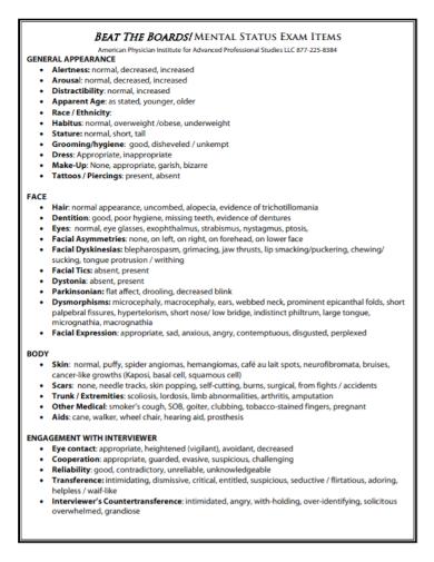 mental status exam checklist report