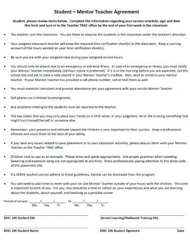 mentor teacher agreement form