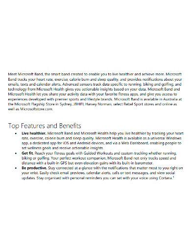microsoft band fact sheet