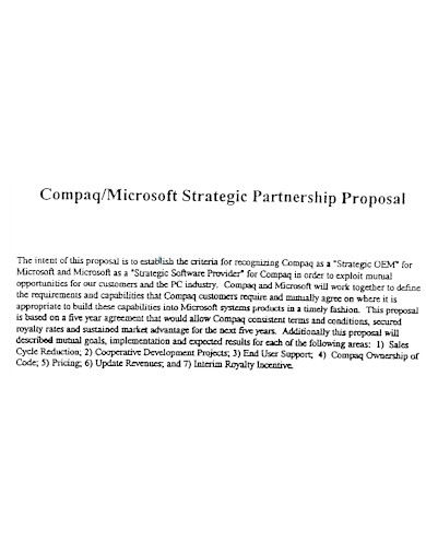 microsoft strategic partnership proposal