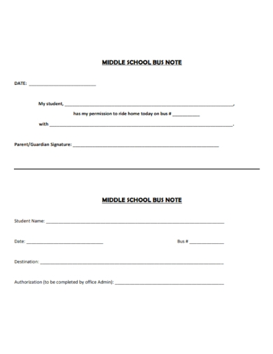 middle school bus note