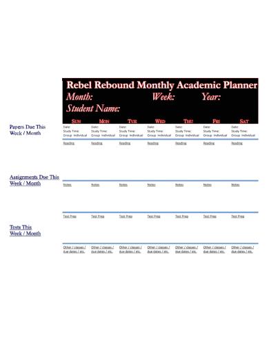 monthly academic study planner